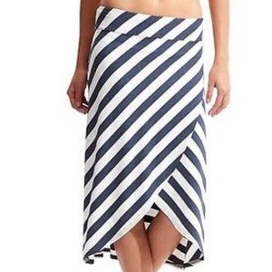 Athlete Ribbon Striped Midi Skirt NWT